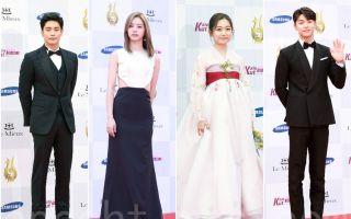 韩国首尔电视节星光红毯,图为成勋(左起)、惠利、金瑟琪、姜敏赫走红地毯。(全景林/大纪元)