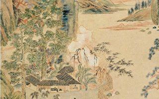 清 华嵒〈隔水吟窗图〉轴局部。(公有领域)
