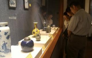 嘉义市文物学会陶瓷文物特展11日开幕,展出会员珍藏的上百件陶瓷文物,并搭配书画、工艺作品,展现嘉义庶民收藏古物的能量。(嘉义市文化局提供)