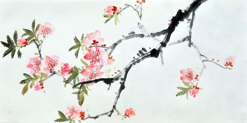 Kết quả hình ảnh cho 水墨画 桃 の 花