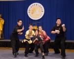 20169月17日,第五届新唐人武术大赛纽约初赛比赛休息期间,台湾青岛武馆的林昌湘和徒弟们为同行们演示了螳螂拳的经典套路以及非事先套好的即兴擒拿技法。(戴兵/大纪元)
