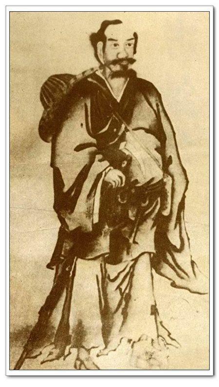 张三丰自画像,原像保存在明代李文忠公家藏文物第十种材料内,后被人发现,保存至今。(公有领域)