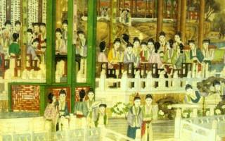 清本《紅樓夢圖》大觀園螃蟹宴與蘅蕪苑詩酒文會(公有領域)