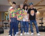 狮子合唱团演唱会于2016年9月26日在台北练团。左起鼓手阿矩、主唱萧敬腾、吉他手力Q、邹强。(黄宗茂/大纪元)