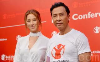 甄子丹26日在尖沙嘴以香港救助儿童会大使身份出席发布会,而该会赞助人徐子淇亦有出席。(宋祥龙/大纪元)