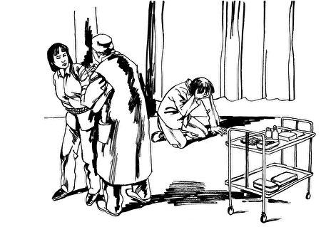 中共酷刑示意图:注射药物(明慧网)