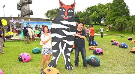 风筝创作家黄景桢的猫风筝。(宋顺澈/大纪元)