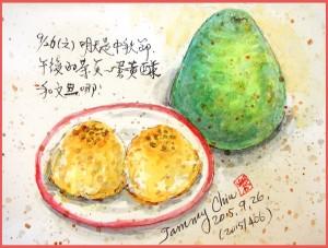 淡彩速寫 / 京式提漿月餅(圖片來源:作者 邱榮蓉 提供)