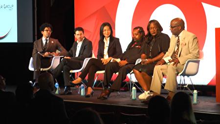 大纪元媒体集团全球市场总监Pamela Tsai(左三)作为亚裔媒体的代表,介绍了华人市场的特点。 (韩瑞/大纪元)