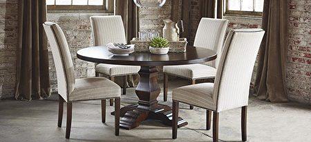 """今年力推的""""Bench*Made""""小型圆桌适合小家庭置放。(湾区家具行Bassett提供)"""
