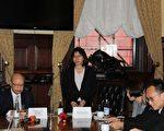 中华民国民航局副局长何淑萍还是率领7人的代表团抵达了蒙特利尔。图为9月26日举行的新闻发布会现场。(陆通/大纪元)