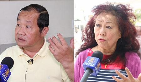 杜彼得(左)、谢美玲(右)谈对今年总统大选首场辩论的感受。 (唐诚/大纪元)