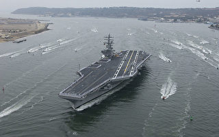 美國「2016勇敢之盾」軍演12日在西太平洋海域展開,駐紮在日本的航空母艦里根號,於軍演前巡弋西太平洋海域。(維基百科公有領域)