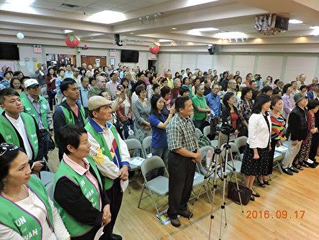 t臺灣之聲合唱團在紐約臺灣會館的演出,座無虛席。