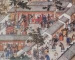 清朝乾隆年间徐扬绘〈姑苏繁华图〉中局部描绘的新郎、新娘拜堂景象。(公共领域)