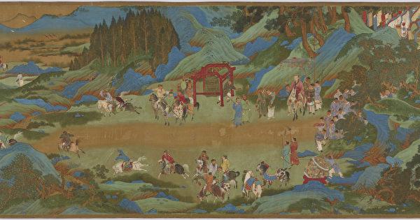 明代仇英绘《汉武帝上林出猎图》(局部)(公有领域)