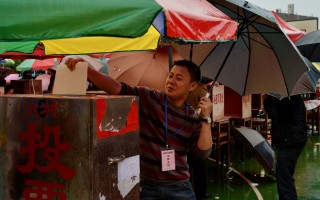 2014年3月,乌坎村村民投票选举村长。(MARK RALSTON/AFP/Getty Images)