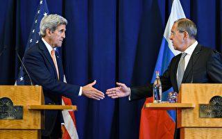 9月9日,在日內瓦經過整天的談判後,美國國務卿克里和俄羅斯外長拉夫羅夫就敘利亞問題達成新一輪停火協議下週一生效。 (FABRICE COFFRINI/AFP/Getty Images)