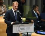 9月19日,联合国在纽约召开史上第一次难民和移民峰会,以因应二次大战后最大难民危机。图为欧洲理事会主席图斯克在发言。(TIMOTHY A. CLARY/AFP/Getty Images)