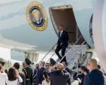 当奥巴马的专机降临在杭州时,中美官员在停机坪上爆发争吵。(SAUL LOEB/AFP/Getty Images)