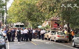 布朗克斯爆炸現場已被封鎖。(鐘鳴/大紀元)