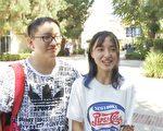 加州大學洛杉磯分校CS博士生 張智宜 電影翻譯學生唐久淞接受採訪。(楊陽/大紀元)
