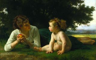 [法]威廉‧布格羅(William Bouguereau, 1825—1905),《誘惑》(Tentation),1860年作,布面油畫,132.08×99.06cm,美國明尼阿波利斯美術館藏。(公有領域)