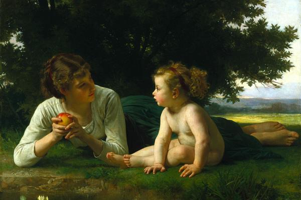 [法]威廉‧布格罗(William Bouguereau, 1825—1905),《诱惑》(Tentation),1860年作,布面油画,132.08×99.06cm,美国明尼阿波利斯美术馆藏。(公有领域)