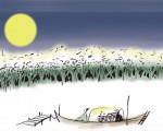 香港著名漫画家以一幅明月高挂的漫画,祝福大纪元读者中秋快乐。 (马龙提供)
