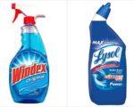 """氯系(漂白剂)产品(右)与氨系产品(左)合用,会释出有毒气体""""氯胺""""。(大纪元合成图)"""