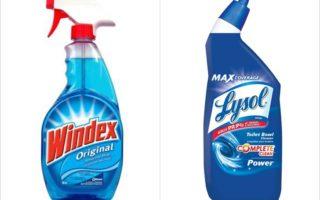 氯系(漂白劑)產品(右)與氨系產品(左)合用,會釋出有毒氣體「氯胺」。(大紀元合成圖)