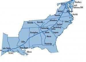 图示为1号管线,由休斯敦炼油厂输送汽油提供给沿东海岸的供应商,终点站为纽约港。(Colonial Pipeline)