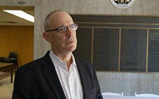 美国国家网络安全联盟主任 Michael Kaiser 讲述小企业遇到的网络安全问题。(李子文/大纪元)
