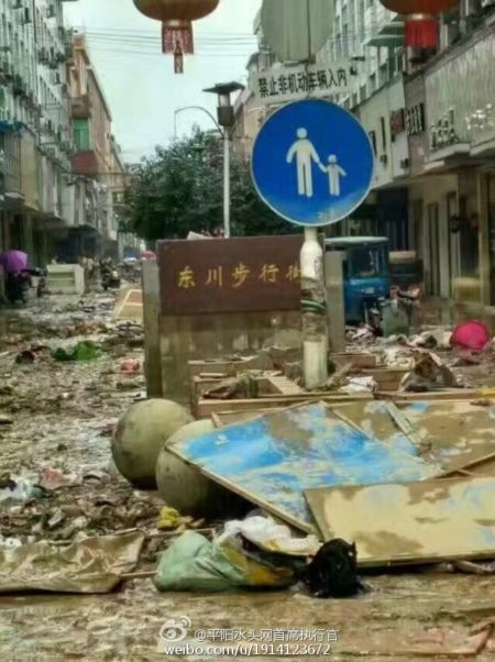 """浙江平阳县水头镇在""""鲶鱼""""台风期间,全镇被水淹两天两夜,街道满目疮痍。(网络图片)"""