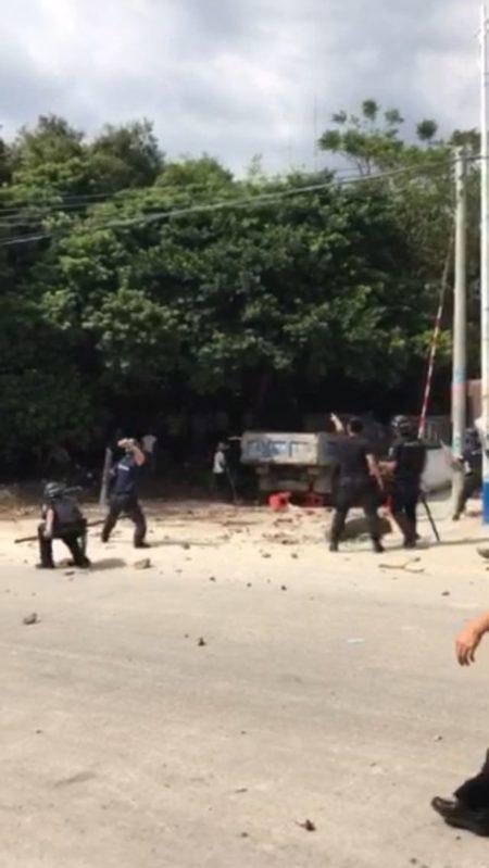 10月11日,广东茂名市电白县望夫镇百余名村民因建垃圾中转站与警方发生激烈冲突,多人重伤。(网络图片)