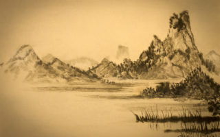 Chinese painting of mountains and clouds(fotolia)