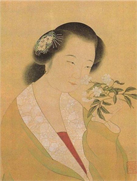 清 姜埂〈李清照小像〉局部。(公有領域)