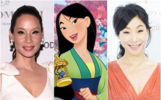 图为美籍华裔女星刘玉玲(左)、台湾女星胡婷婷(右)与花木兰动画人物组图,图为资料照。(Getty Images,视频截图,陈柏州/大纪元合成)