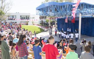 10月9日,加州圣地亚哥侨界举行升旗典礼和大型晚宴,庆祝中华民国105年双十国庆。图为在中华学苑举行的升旗仪式。(杨婕/大纪元)