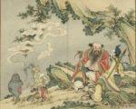 《吕洞宾汉钟离二仙欢会》,出《欢联庆节》册,台北国立故宫博物院藏。(公有领域)