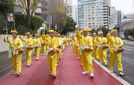 2016年10月25日,法轮功学员在旧金山日本城举行反迫害游行。(季媛/大纪元)