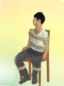 中共监狱酷刑示意图:捆绑在椅子上(明慧网)