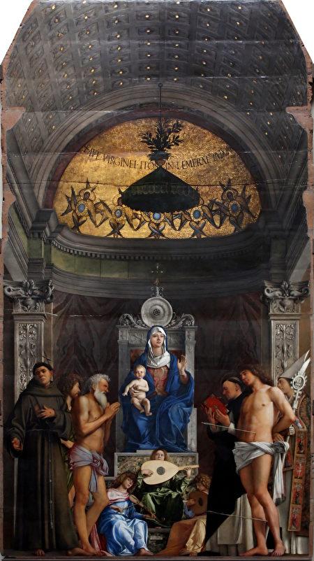 乔凡尼.贝里尼1497年于威尼斯圣吉欧教堂绘制的祭坛画《宝座上的圣母》,油画于木板。威尼斯学院画廊收藏。(M0tty/维基公共领域)