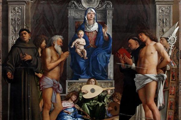 乔凡尼.贝里尼1497年于威尼斯圣吉欧教堂绘制的祭坛画《宝座上的圣母》局部。威尼斯学院画廊收藏。(M0tty/维基公共领域)