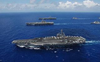 美國和韓國海軍10月10日開始在韓國周邊海域展開大規模海上聯合軍事演習,「里根」號核航母參加軍演,對朝鮮釋放強烈警告信號。(維基百科公有領域)