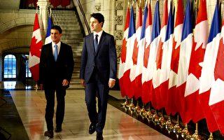 10月13日上午,加拿大总理特鲁多在首都渥太华国会山庄接见法国总理瓦尔斯。(任侨生/大纪元)