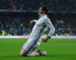 前锋莫拉塔打入关键进球,助皇马再成为西甲领头羊。 (Gonzalo Arroyo Moreno/Getty Images)
