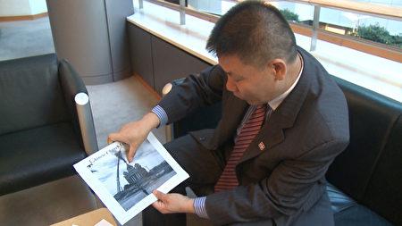 对华援助协会会长傅希秋說明中國基督徒所遭受的迫害。(新唐人)