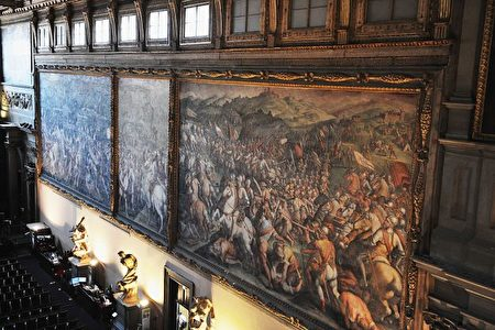 佛罗伦萨旧宫壁画《马尔恰诺战役》。(Laura Lezza/Getty Images)