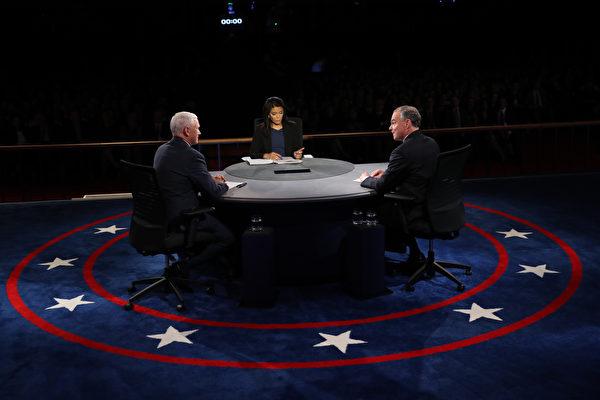 4日美国大选两大政党副总统候选人辩论,场中彭斯与凯恩数度为川普和希拉里的政策交锋辩护,火药味十足,主持人数次打断或提醒,也难阻止两人的针锋相对。(Joe Raedle/Getty Images)